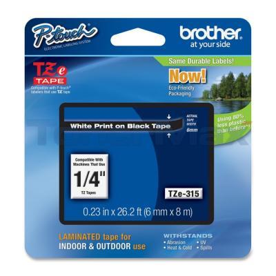 BROTHER TZ LAMINATED TAPE WHITE ON BLACK 0.23 IN X 26.2 FT